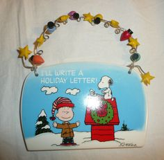 Peanuts Holiday Themed Sign Hanger Snoopy Linus Dept 56 Xmas Plaque Wall Decor #Department56