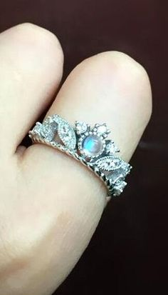 sterling silver moonstone antique art deco promise ring for her