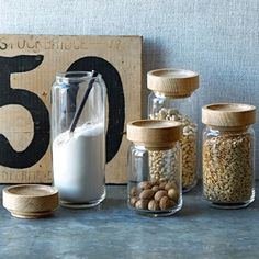 Wood + Glass Storage Jars - contemporary - food containers and storage - West Elm