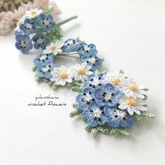 完成しました✨ ネモフィラとマーガレットのブローチ3タイプ🌿 #アクセサリー #ブローチ #かぎ針編み #レース糸 #クロッシェ #ネモフィラ #マーガレット #accessories #brooches #crochet #nemophila #Margaret Crochet Fabric, Crochet Buttons, Cute Crochet, Irish Crochet, Crochet Doilies, Crochet Butterfly Free Pattern, Crochet Flower Patterns, Knitted Flowers, Crochet Accessories