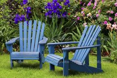 Blue Back Yard Chairs - Stock Image: 43255199