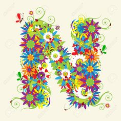5268136-Letter-N-floral-design-See-also-letters-in-my-gallery-Stock-Vector.jpg (1300×1300)
