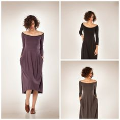 was 138 USD now 79 USD Women dress. Soft midi dress is made of jersey. It features fun pockets and a unique asymetrical cut (the back being slightly longer than the front). The long sleeves beautifully contrast the open neckline, which accentuates the collar bones.( the purple dress is without the black collar it all purple) The uniquely designed folds create an especially flattering waistline. The dress is available in black: https://www.etsy.com/il-en/listing/175494...