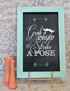 """Wedding Reception """"Strike A Pose"""" PHOTO BOOTH Sign, 13"""" x 21"""", Printable, DIY, Instant Download, Sign, Seating Plan, Chalkboard, Vintage"""