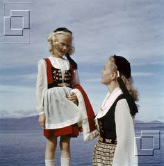 Mother and daughter wearing the Icelandic national costume on the national day 17th of June 1958.