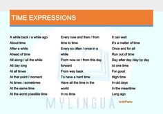 TIME expressions #learnenglish