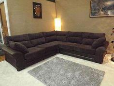 JUNO CHOCOLATE BROWN JUMBO CORD FABRIC WITH RHINO LEATHER CORNER GROUP SOFA | Online sofa wholesale