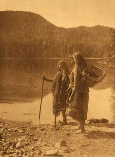 Coastal Indian Women Waiting For The Canoe.