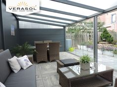 Verasol Tuinkamer Outdoor Spaces, Outdoor Living, Outdoor Decor, Covered Patio Design, Garden Room Extensions, House Extension Design, House Furniture Design, Rooftop Restaurant, Terrace Design