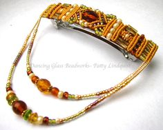 Macrame Beaded Barrette Gold with green barrette by glassdancer