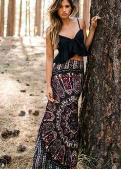 Retro Print Maxi Skirt