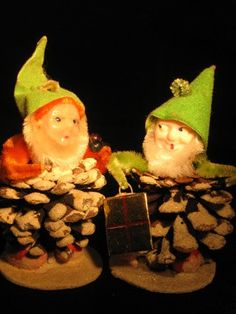 Vintage Christmas Pine Cone Elves Pixies Gnomes by TheIDconnection, $20.00