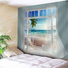 Balcony Beach Seascape Waterproof Wall Hanging Tapestry - Blue W59 Inch * L51 Inch