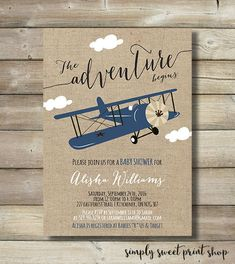 Image result for airplane baby shower invitation templates let the adventure begin