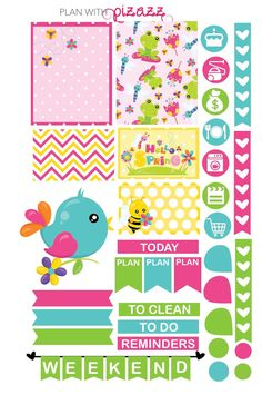 You will receive one sheet of matte finish die cut stickers. The sheet includes super cute HELLO SPRING Theme stickers including several full
