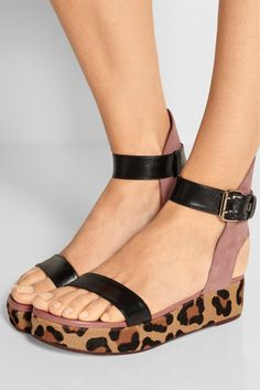 Platform sole measures approximately 45mm/ 2 inches Black leather, antique-rose suede, leopard-print goat hair  Buckle-fastening ankle strap Made in Italy