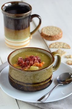 Good split pea soup recipe- I used ham instead of bacon and it worked just as well :)