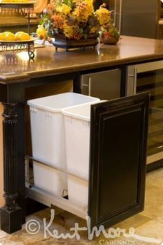 custom cabinetry by kent moore cabinets pull out trash maple wood with midnight mystique. beautiful ideas. Home Design Ideas