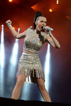 Like thunder, Katy Perry shakes the ground during a performance at BBC Radio 1's Big Weekend on May 25 in Glasgow, Scotland