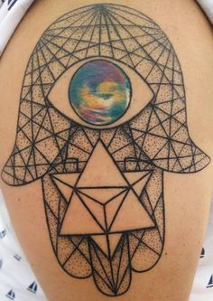Geometric Hamsa Tattoo This is crooked and its too big. I am 56 and I don't have one yet..or maybe never, Just thinking. Is this a oxymoron because I think a tatoo of this would be frowned upon. What do you think?