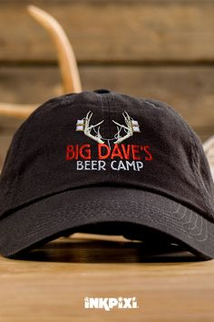 2dedf00bcb2c8 Head to the great outdoors wearing our fun-loving Beer Camp custom hat. This