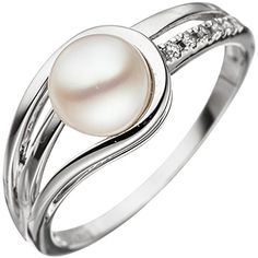 Ladies 585 Gold White Gold 1 Freshwater Pearls 5 Diamonds Gold Ring Size 60 for sale online Gold Diamond Rings, Ring Verlobung, Fresh Water, Jewelry Watches, White Gold, Wedding Rings, Ebay, Engagement Rings, Pearls