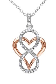 Two-Tone Silver Heart & Diamond Infinity Pendant Necklace - 0.06 ctw by Delmar on @HauteLook