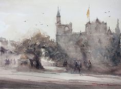 'Famagusta-Cathedral' by the artist Savva. Another stunning watercolour on Saunders Waterford Rough 300gsm (140lb) paper. Thanks for the share Savva!  http://www.savva.co/ https://www.facebook.com/artsavva