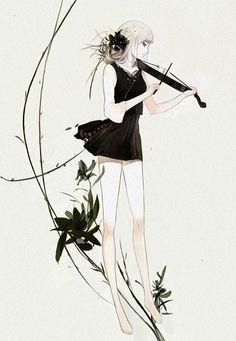 Manga Mädchen im schwarzen Kleid mit Geige