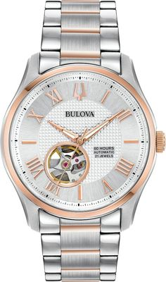 Bulova Watch Wilton Ladies #add-content #allow-discount-yes #basel-20 #bezel-fixed #bracelet-strap-gold #brand-bulova #case-depth-12-7mm #case-material-steel #case-width-42mm #delivery-timescale-call-us #dial-colour-silver #fashion #gender-ladies #movement-automatic #new-product-yes #official-stockist-for-bulova-watches #packaging-bulova-watch-packaging #sale-item-no #style-dress #subcat-wilton #supplier-mo Stainless Steel Watch, Stainless Steel Bracelet, Sleek Rose Gold, Classic Men, Gold And Silver Watch, Bulova Watches, Automatic Watches For Men, Watch Model, Cool Watches