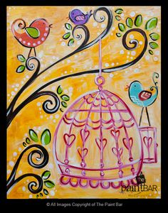 Funky Birdcage Painting - Jackie Schon, The Paint Bar