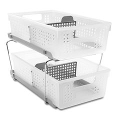 Featuring slide-out storage bins with interior dividers, this nonslip two-tier organizer keeps kitchen, bathroom or office essentials neatly arranged. Countertop Organization, Home Organization, Bathroom Storage, Kitchen Storage, Bathroom Ideas, Pantry Storage, Kitchen Items, Diy Kitchen, Kitchen Gadgets