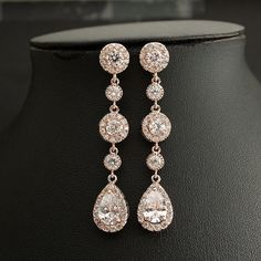 Matches my engagement ring beautifully!!  ROSE GOLD Bridal Jewelry Long Bridal Earrings by poetryjewelry, $60.00