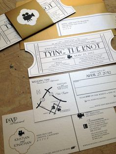 Vintage Cinema Wedding Invitation Ticket with tear-off RSVP postcard & Map info by papercakedesigns