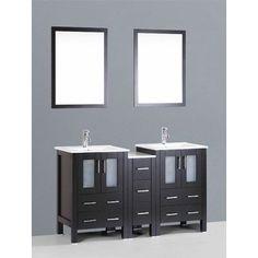 "Bosconi Contemporary 60"" Double Bathroom Vanity Set with Mirror Base Finish: Espresso"