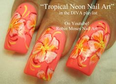 Tropical Neon Flower Nail Art