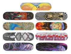 """Super excited to """"announce"""" that my skateboard deck designs are up and for sale as actual skateboards on my website! Each deck is $59.99, either 7.75, 8, or 8.25 (but I can do other sizes or longboards upon request) and made of 7 ply maple!  Here's the link if interested: www.boardpusher.com/rosesoma  My other art is also for sale at www.society6.com/rosesoma  #skateboarding #skateboarddecks #decks #skate #art #boardpusher #art"""