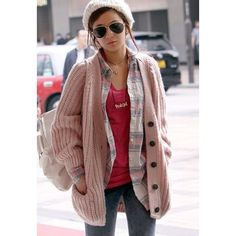 Casual Style V-Neck Long Sleeves Women's Heavy Knit Pink CardiganSweaters & Cardigans | RoseGal.com