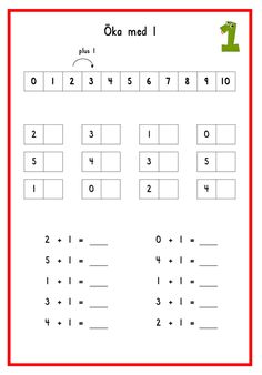 Öka med 1 steg 1 Addition Worksheets, Math Addition, Math For Kids, Fun Math, Skip Counting, Primary Maths, Back 2 School, Math Lessons, Teaching Math