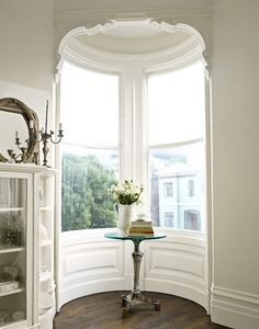 curved window nook...white on white
