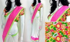 White marble chiffon with neon pink and neon green borders. CODE: SD099 PRICE: Rs.3980 SAREE: White marble chiffon with neon pink and neon green borders. BLOUSE: Intricate fully embroidered floral design in neon colours on a shimmer material