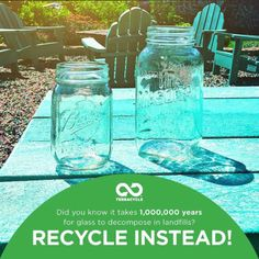 Don't let your glass end up in the landfill. upcycle or recycle them instead!