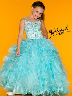 Little Girls Pageant Dress in Ice Blue - Mac Duggal