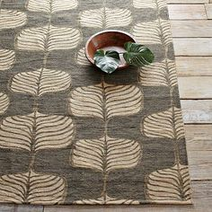 I love the Bemba Printed Jute Rug on westelm.com - for first floor bathroom