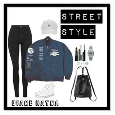 """""""Street Style #232"""" by dianerayna ❤ liked on Polyvore featuring Topshop, NARS Cosmetics, T By Alexander Wang, Converse, Monki, MAC Cosmetics, Casio and Rotenier"""
