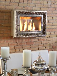 Charlotte Vintage Picture Frame Wall Firespace by Terra Flame Home at Gilt
