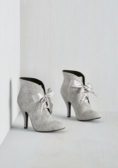 Path to Victorian Bootie. Champion spectacular style in these heeled booties from Dolce by Mojo Moxy! #grey #wedding #modcloth