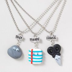 Best Friends Day gift for you & 2 of your besties: Rock, Paper, Scissors BFF Necklace Set