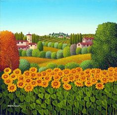 We present: Sunflowers - Cesare Marchesini. One of the many paintings by Cesare Marchesini. Landscape Illustration, Landscape Art, Landscape Paintings, Pin Ups Vintage, Country Paintings, Country Art, Italian Artist, Naive Art, Whimsical Art
