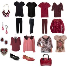 """Black and Burgundy 12-piece"" created  by me on Polyvore"